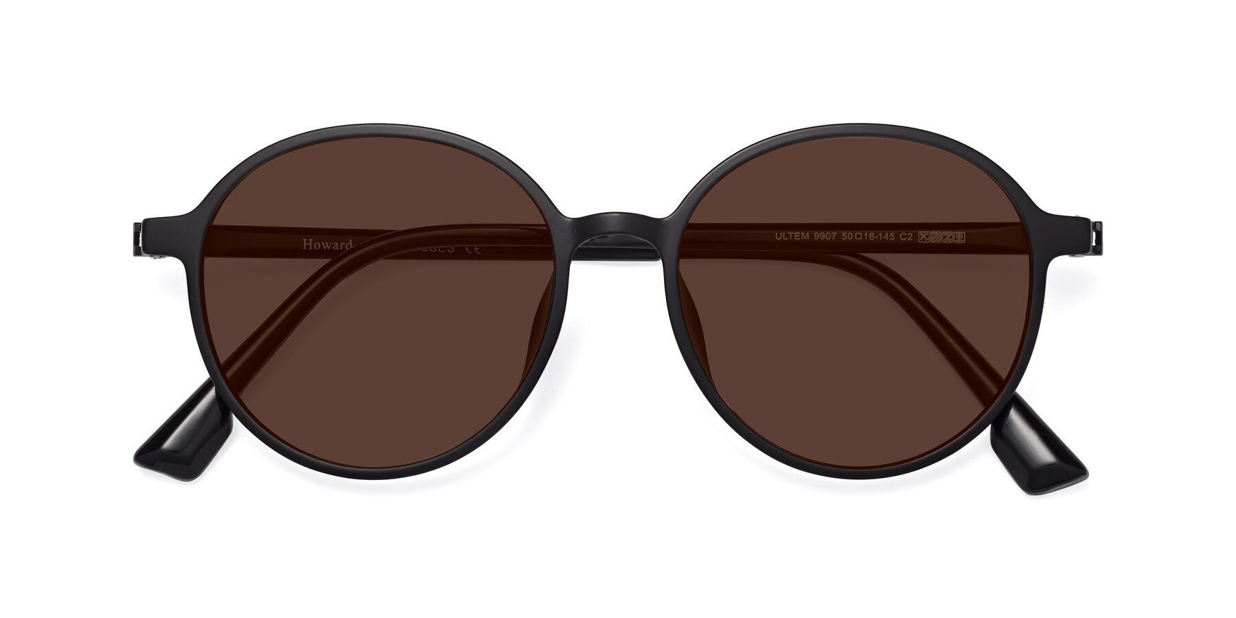 Folded Front of Howard in Matte Black with Brown Tinted Lenses