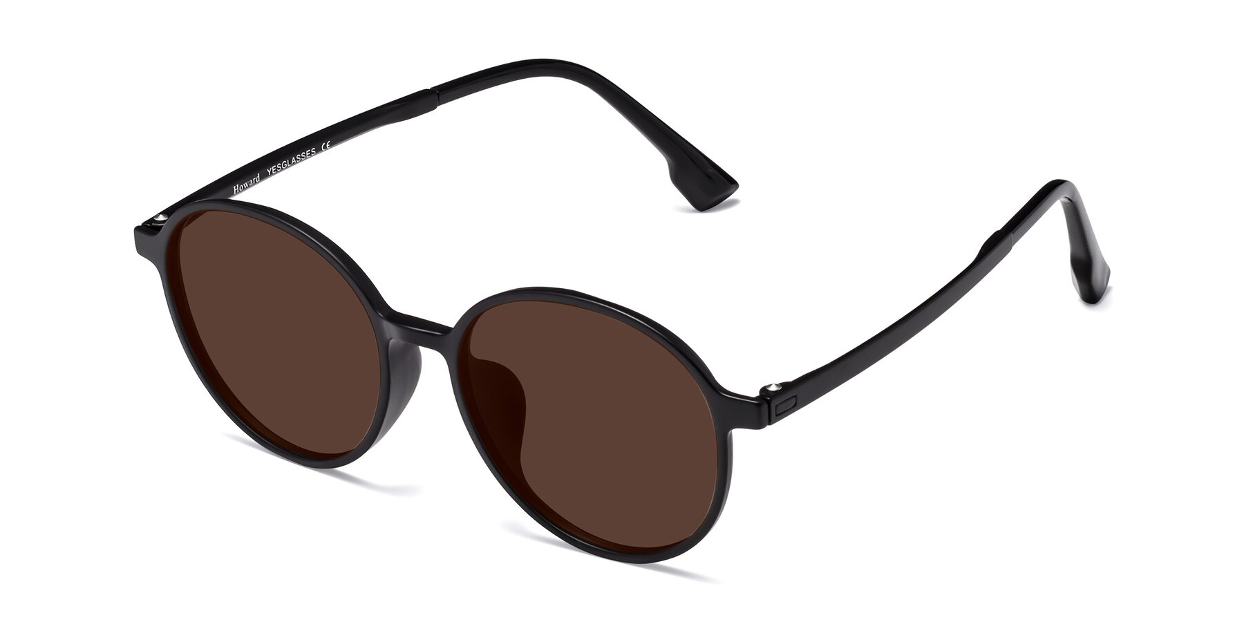 Angle of Howard in Matte Black with Brown Tinted Lenses