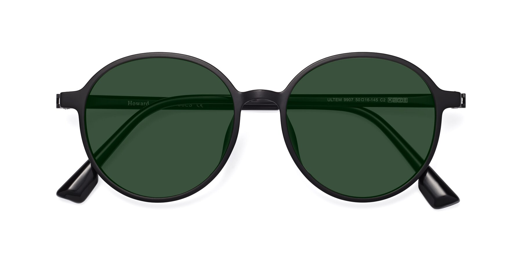 Folded Front of Howard in Matte Black with Green Tinted Lenses