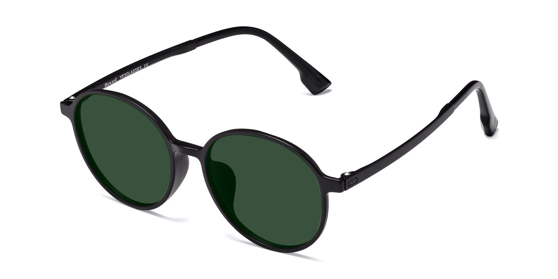 Angle of Howard in Matte Black with Green Tinted Lenses