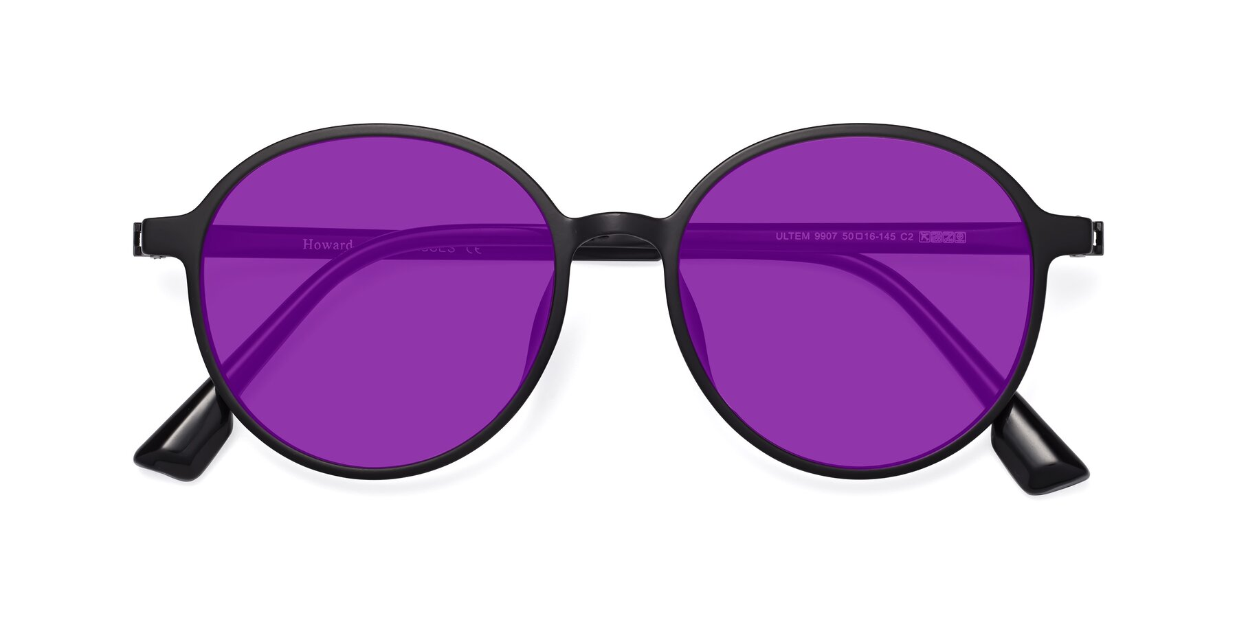Folded Front of Howard in Matte Black with Purple Tinted Lenses