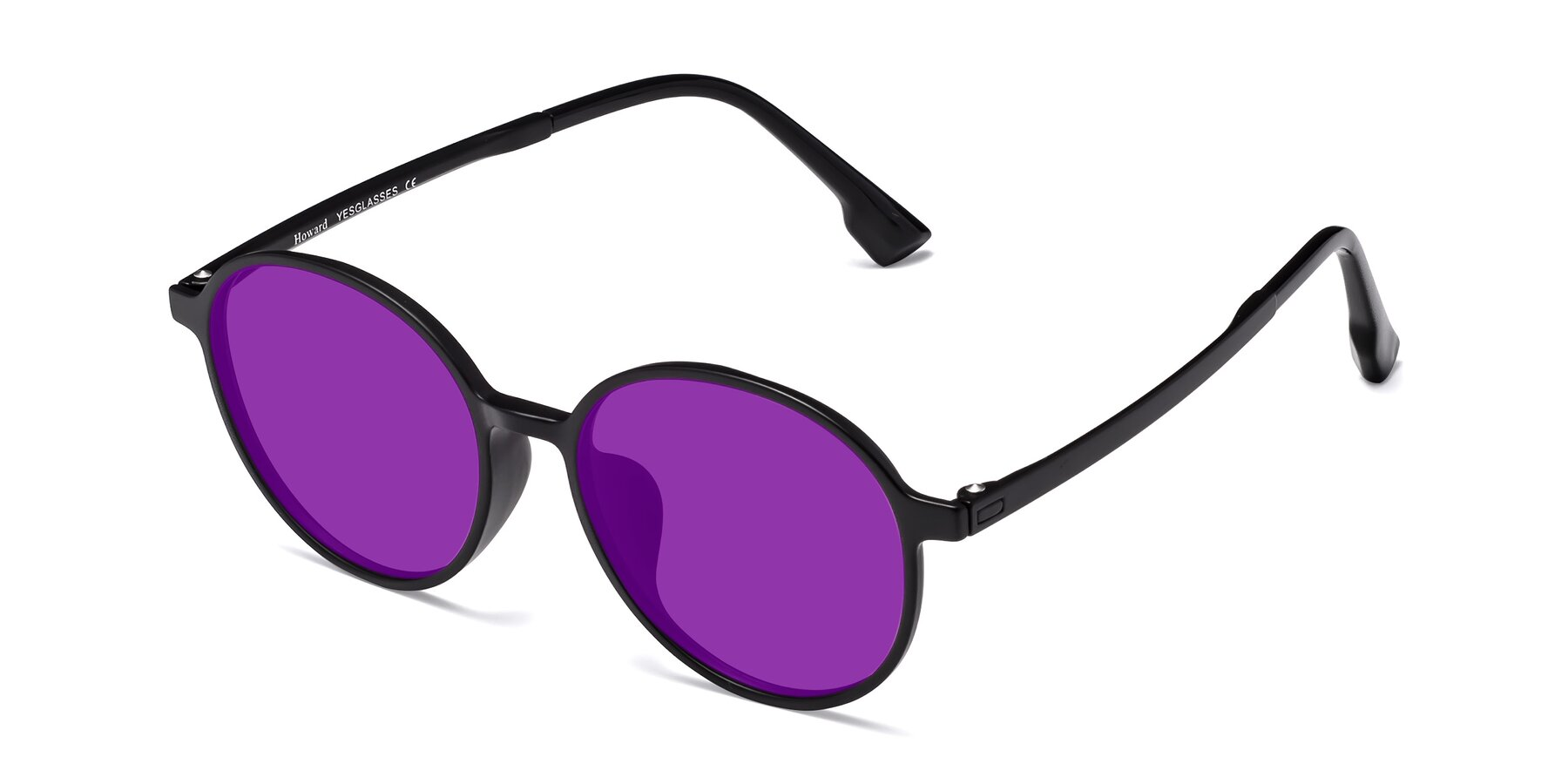 Angle of Howard in Matte Black with Purple Tinted Lenses