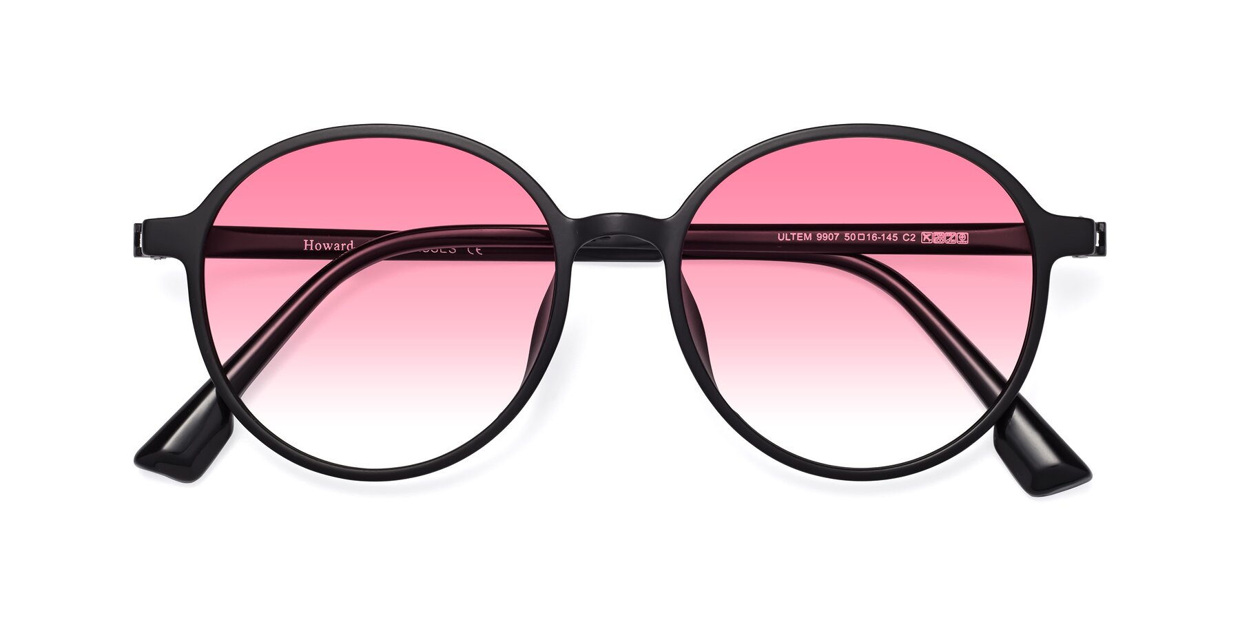 Folded Front of Howard in Matte Black with Pink Gradient Lenses