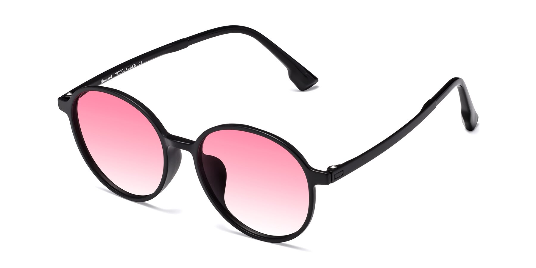 Angle of Howard in Matte Black with Pink Gradient Lenses