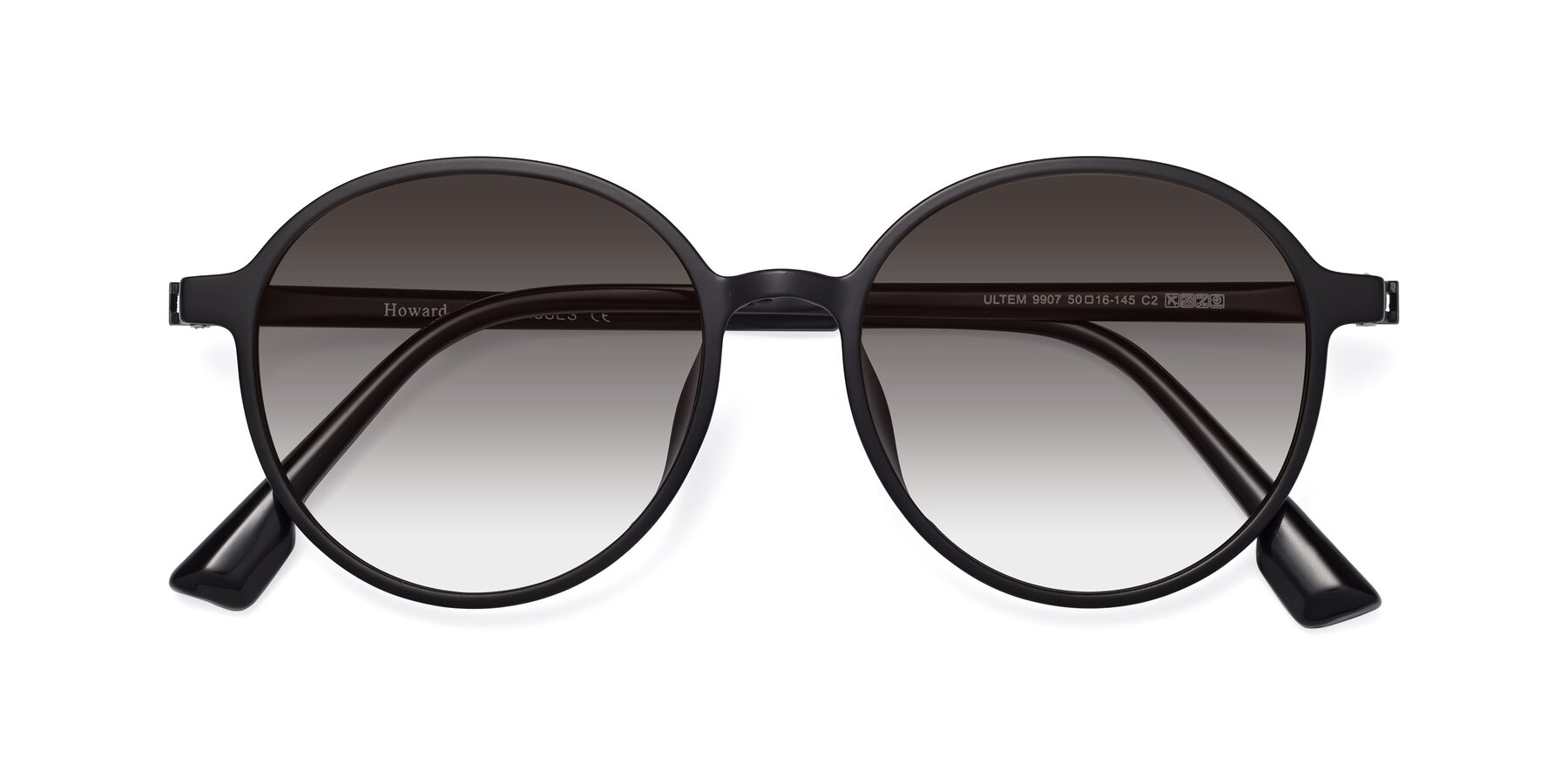 Folded Front of Howard in Matte Black with Gray Gradient Lenses