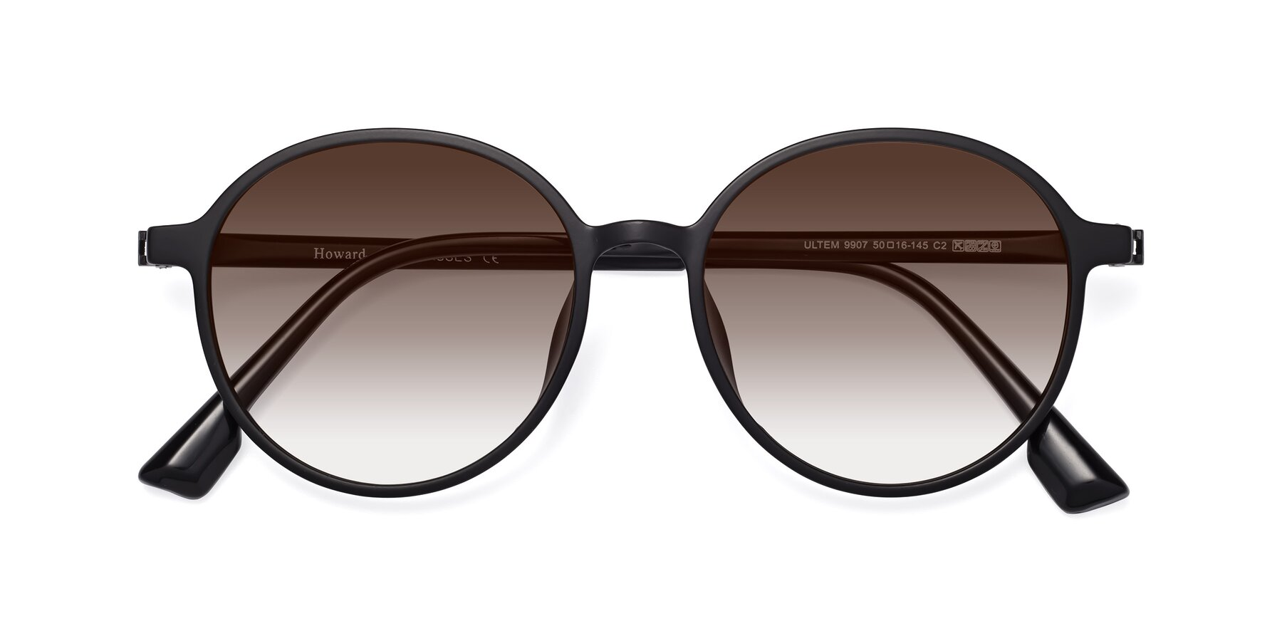 Folded Front of Howard in Matte Black with Brown Gradient Lenses