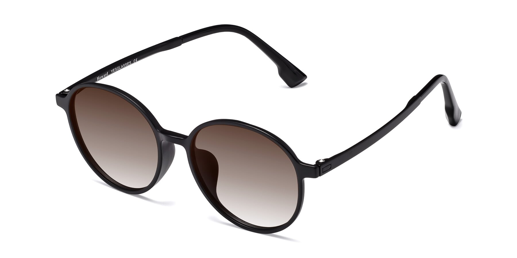 Angle of Howard in Matte Black with Brown Gradient Lenses