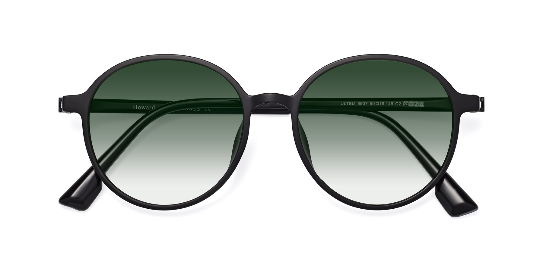 Folded Front of Howard in Matte Black with Green Gradient Lenses