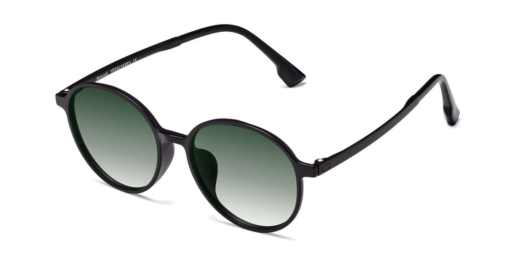 Angle of Howard in Matte Black with Green Gradient Lenses
