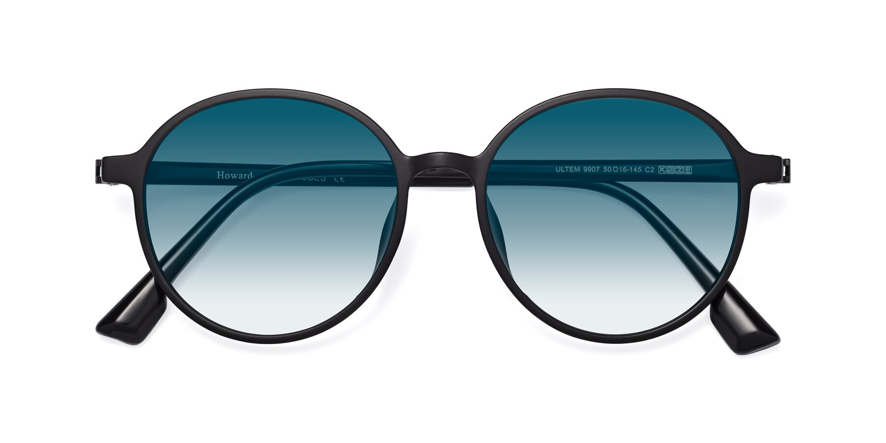 Folded Front of Howard in Matte Black with Blue Gradient Lenses