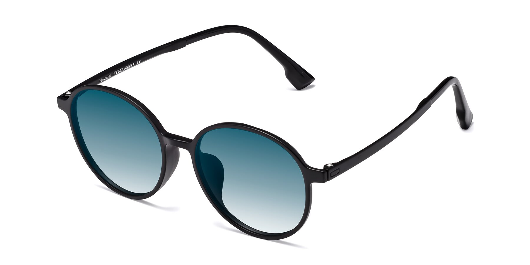 Angle of Howard in Matte Black with Blue Gradient Lenses