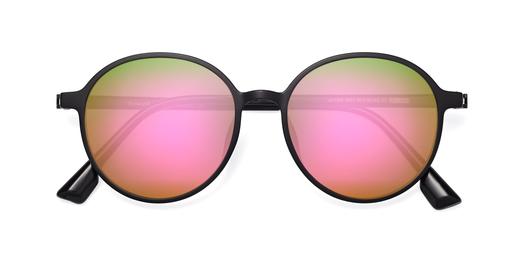 Folded Front of Howard in Matte Black with Pink Mirrored Lenses