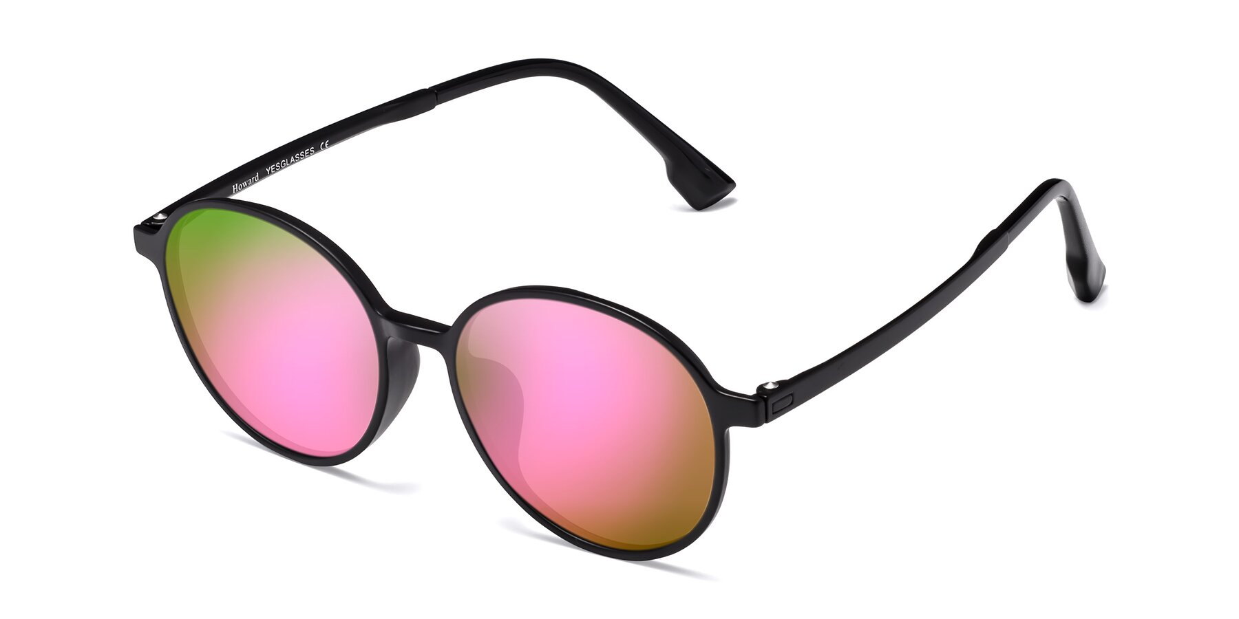 Angle of Howard in Matte Black with Pink Mirrored Lenses