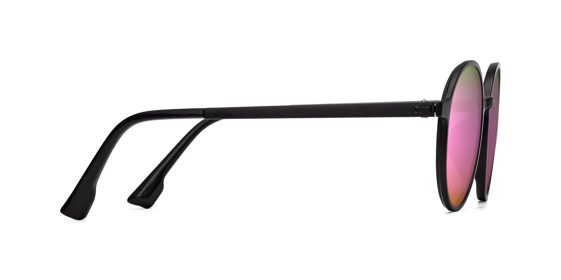 Side of Howard in Matte Black with Pink Mirrored Lenses