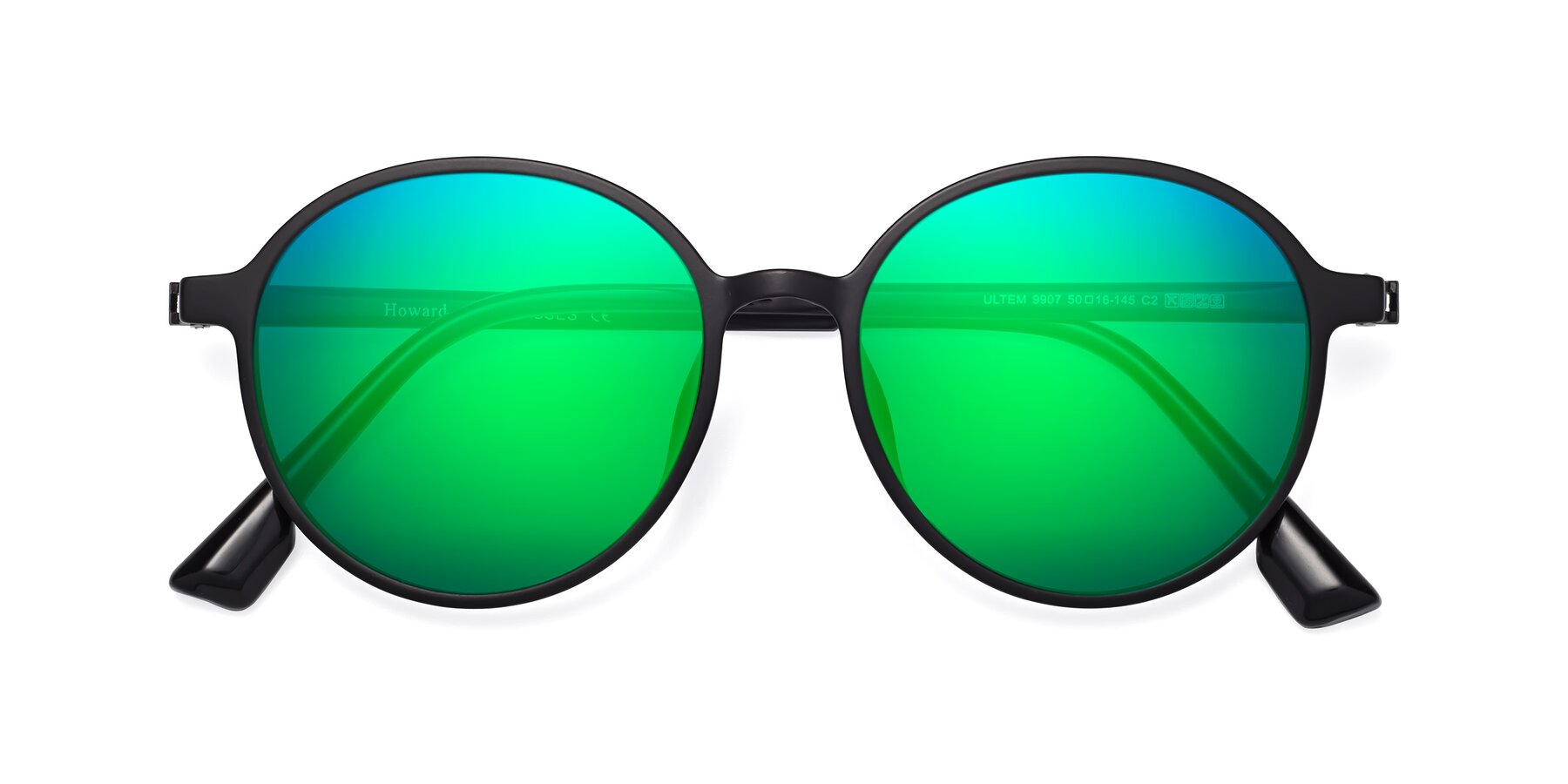 Folded Front of Howard in Matte Black with Green Mirrored Lenses