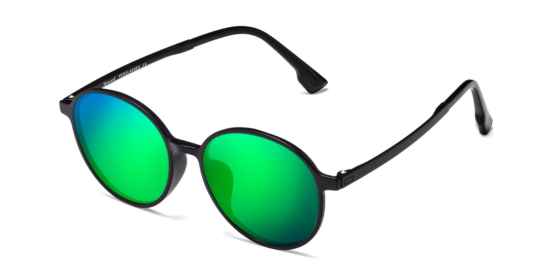 Angle of Howard in Matte Black with Green Mirrored Lenses