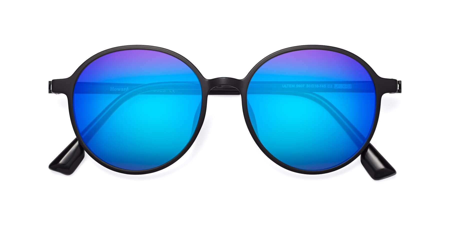 Folded Front of Howard in Matte Black with Blue Mirrored Lenses