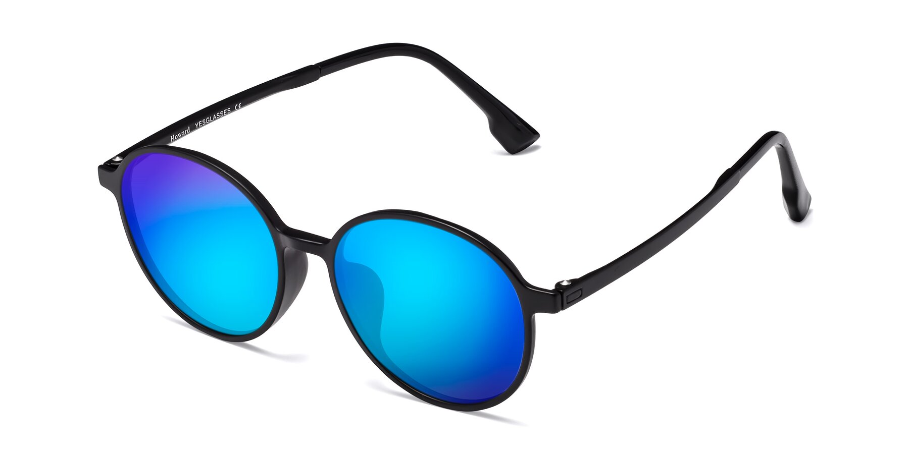 Angle of Howard in Matte Black with Blue Mirrored Lenses
