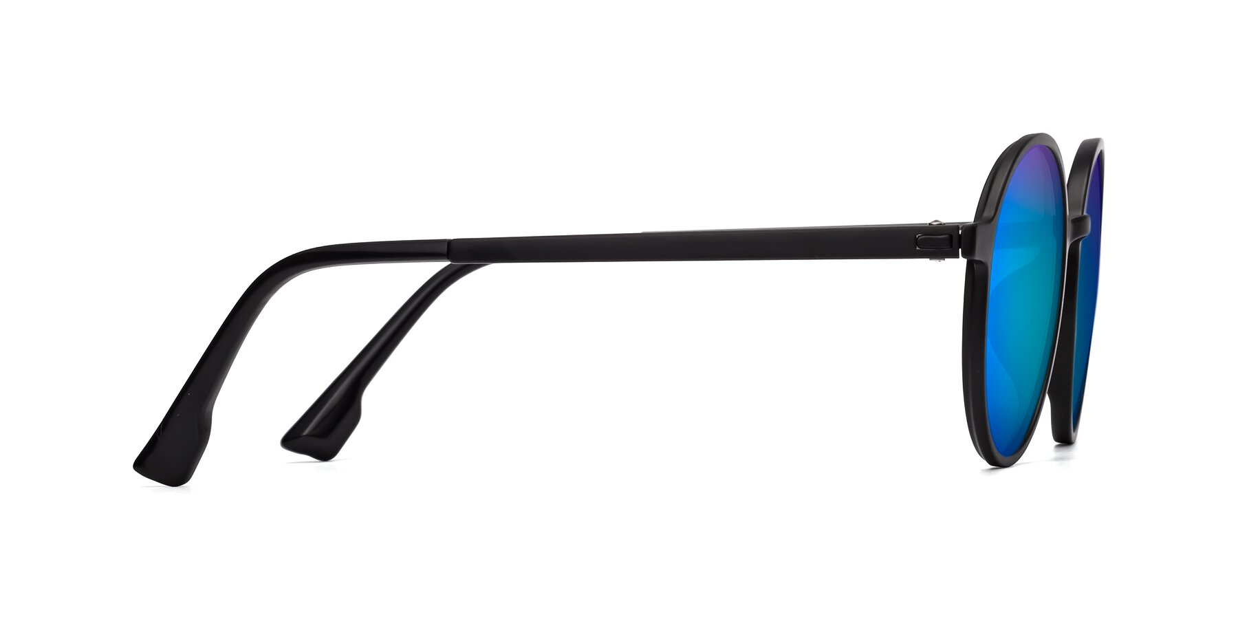 Side of Howard in Matte Black with Blue Mirrored Lenses