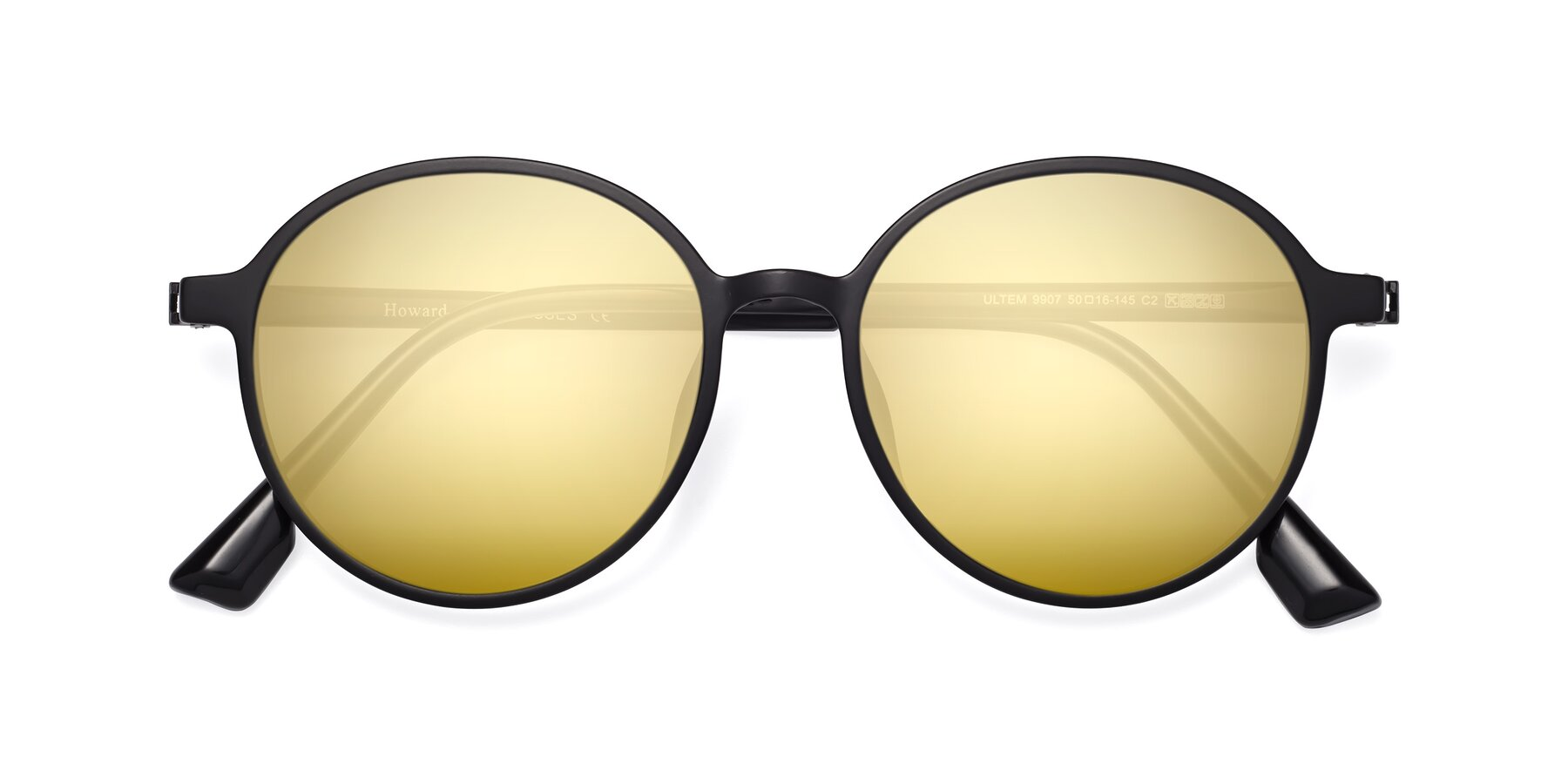 Folded Front of Howard in Matte Black with Gold Mirrored Lenses