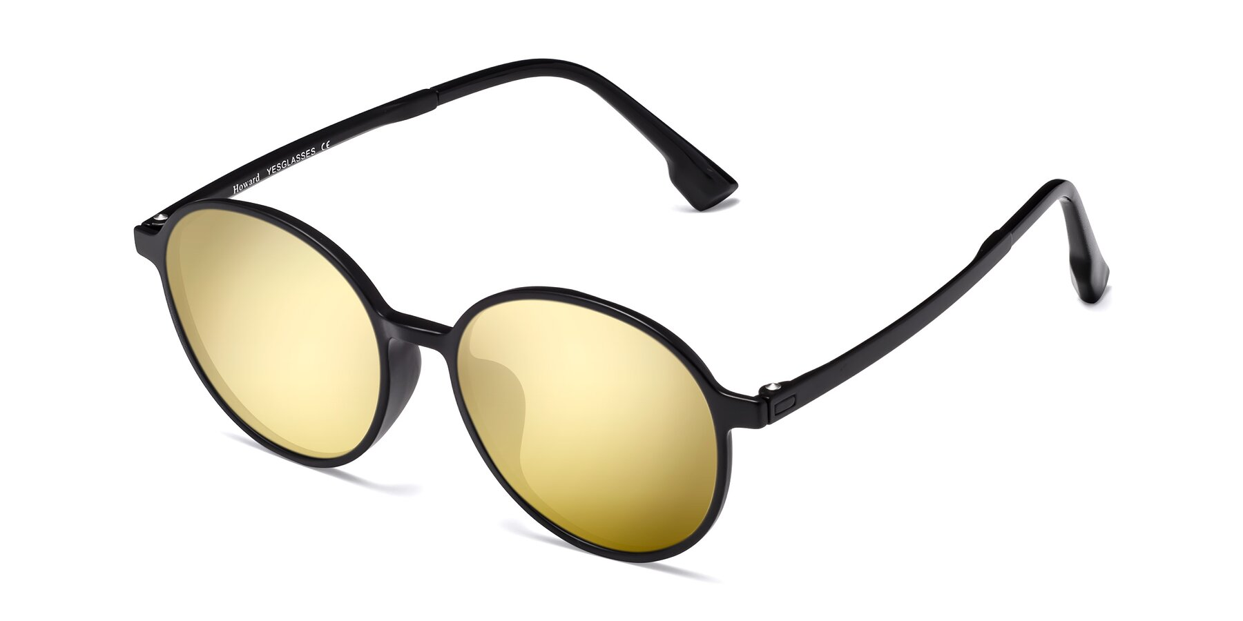 Angle of Howard in Matte Black with Gold Mirrored Lenses