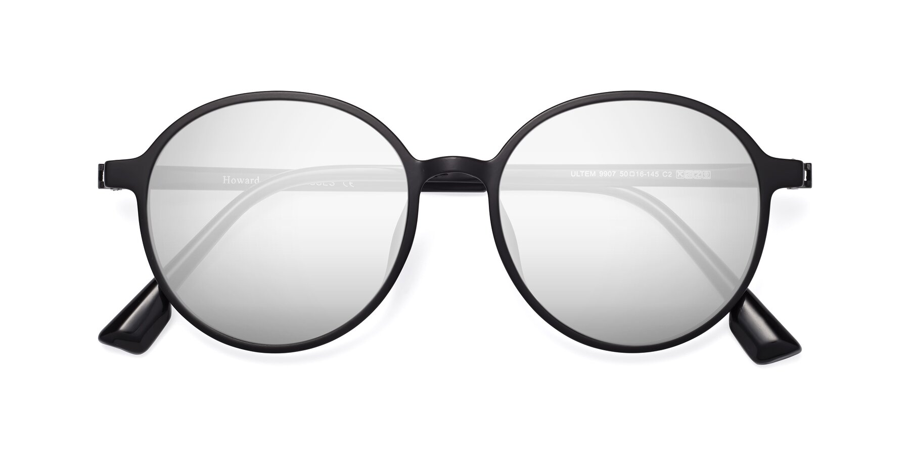 Folded Front of Howard in Matte Black with Silver Mirrored Lenses