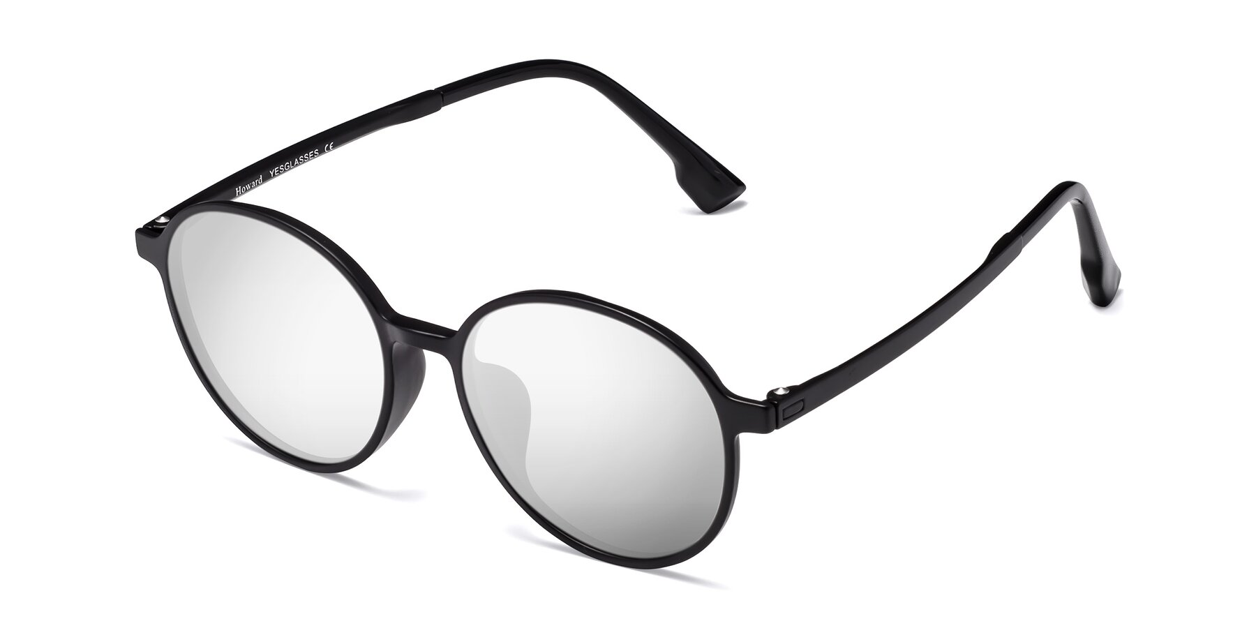 Angle of Howard in Matte Black with Silver Mirrored Lenses