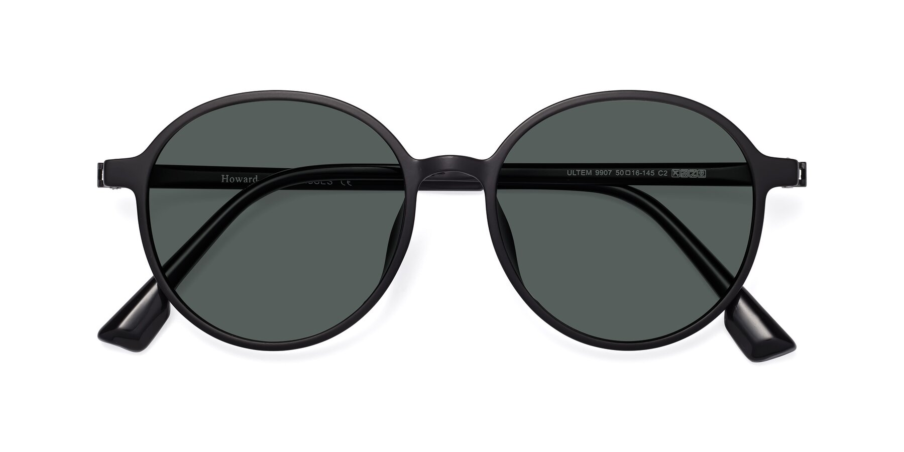Folded Front of Howard in Matte Black with Gray Polarized Lenses