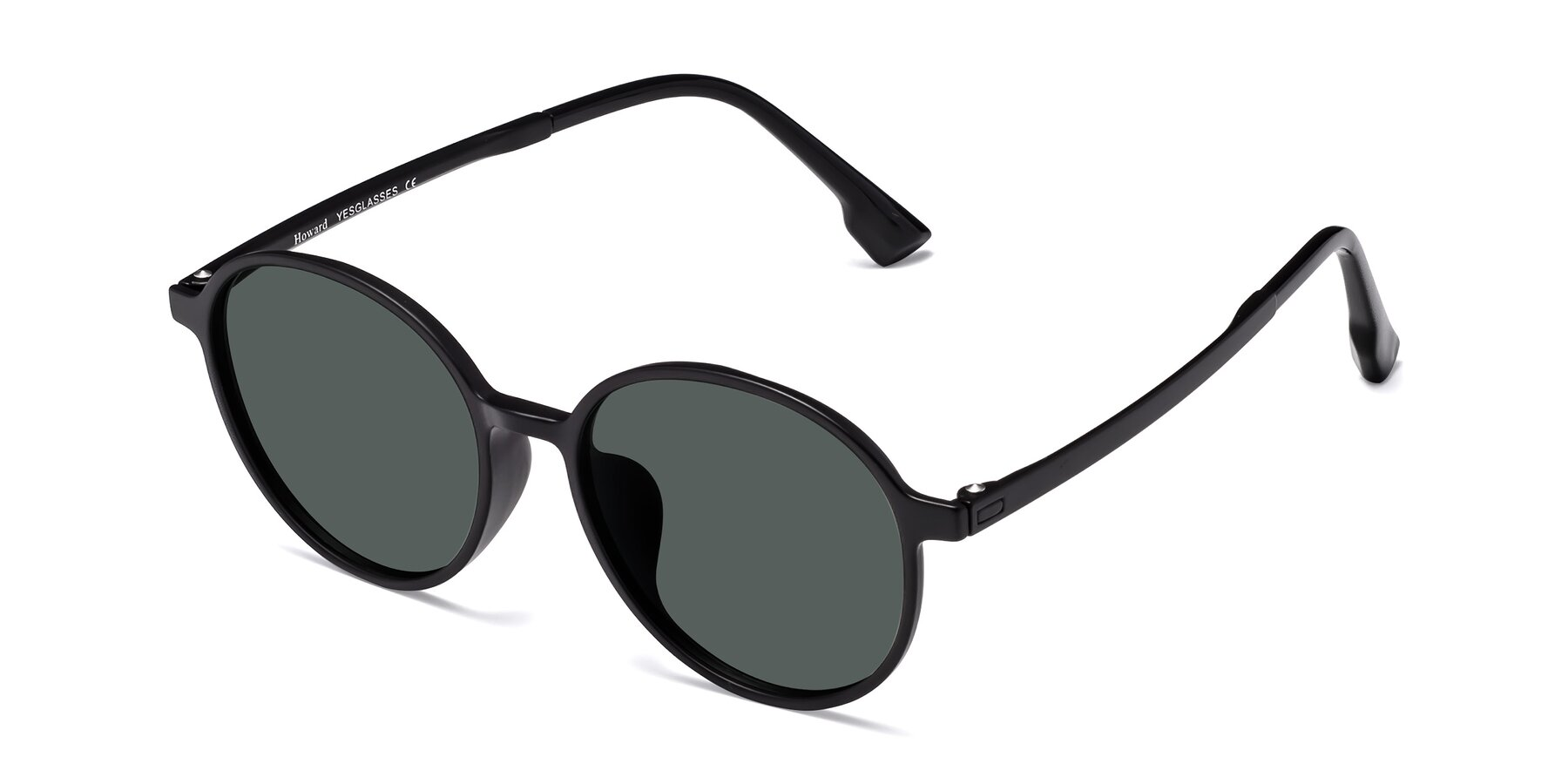 Angle of Howard in Matte Black with Gray Polarized Lenses