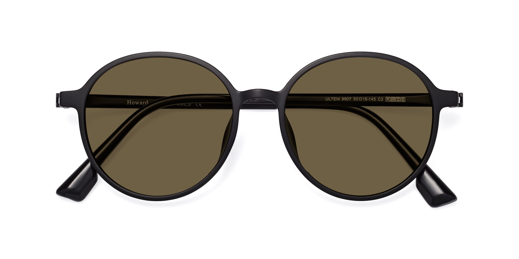 Folded Front of Howard in Matte Black with Brown Polarized Lenses