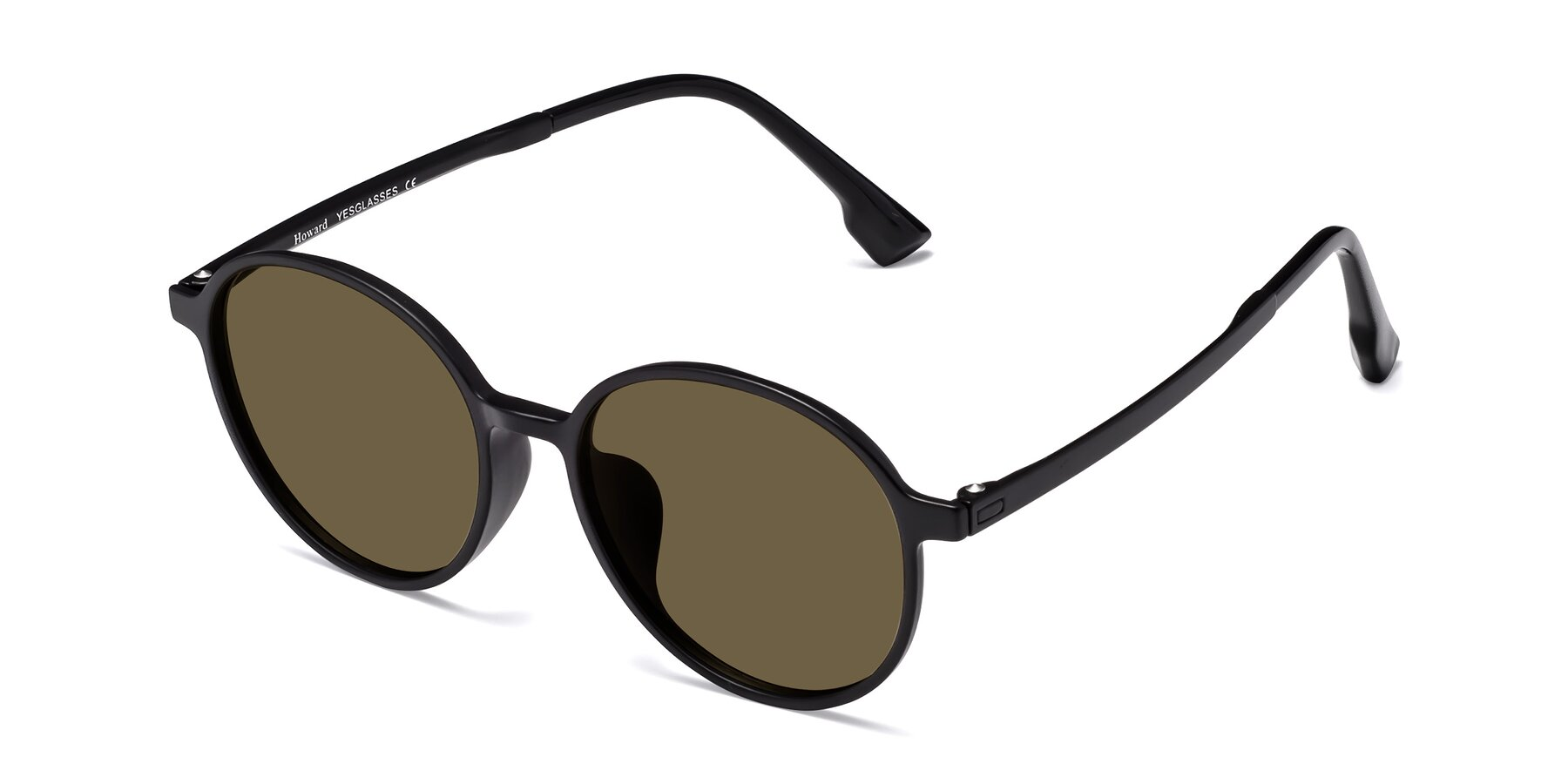 Angle of Howard in Matte Black with Brown Polarized Lenses