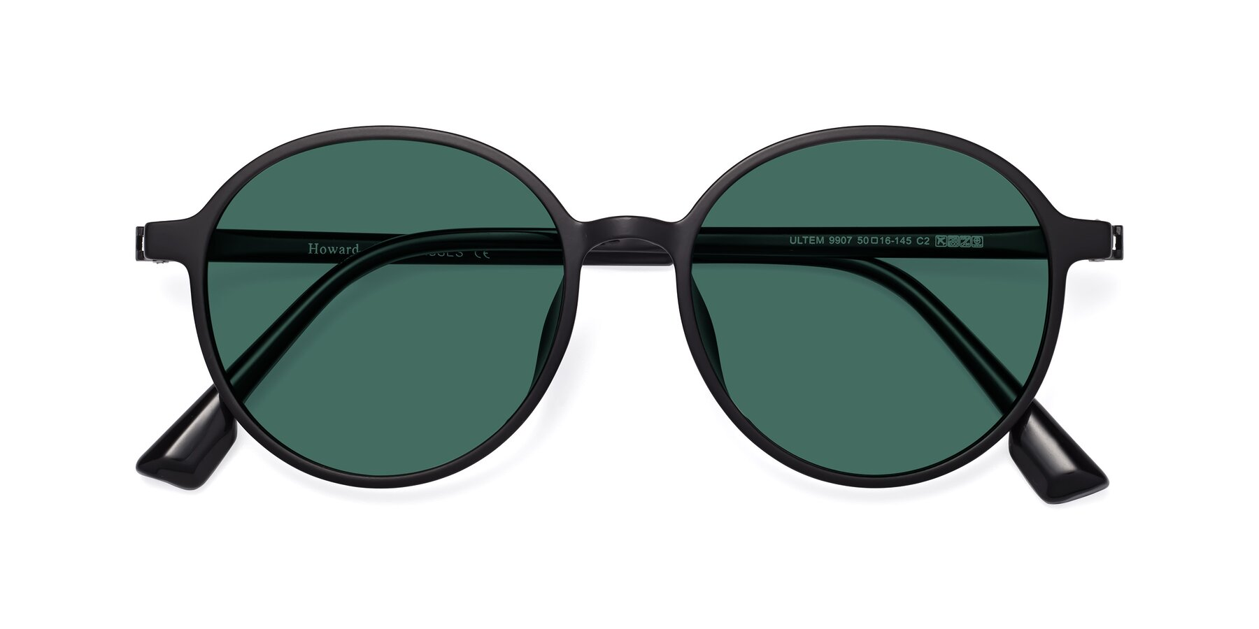 Folded Front of Howard in Matte Black with Green Polarized Lenses