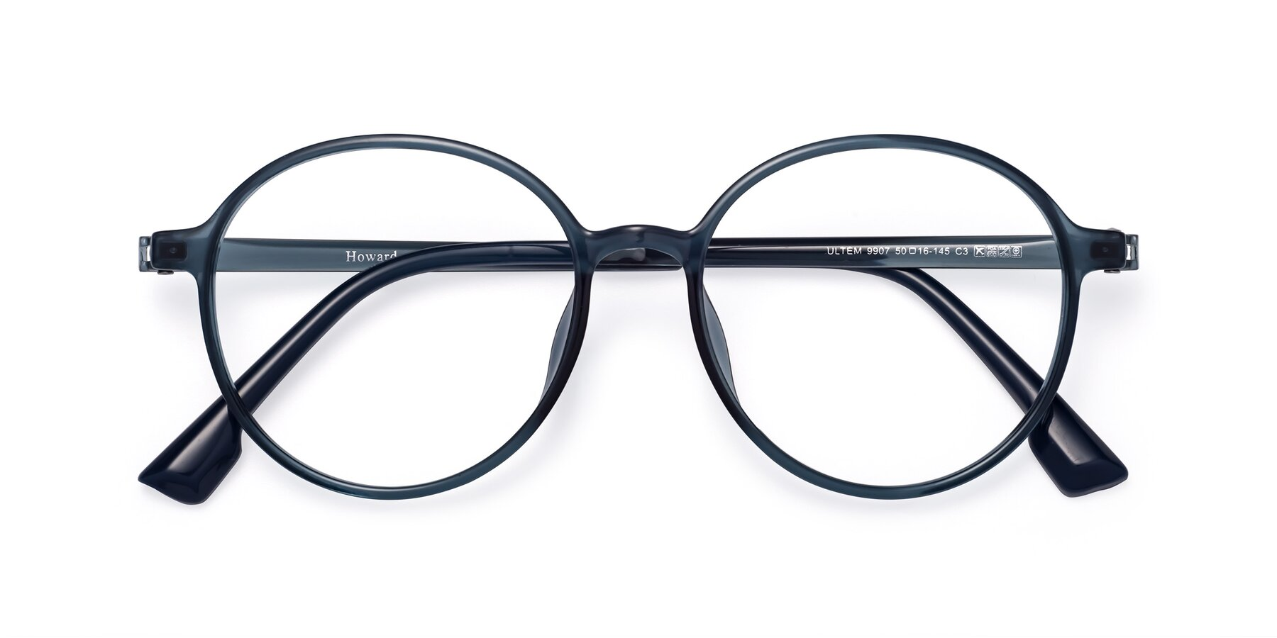 Folded Front of Howard in Deep Sky Blue with Clear Blue Light Blocking Lenses