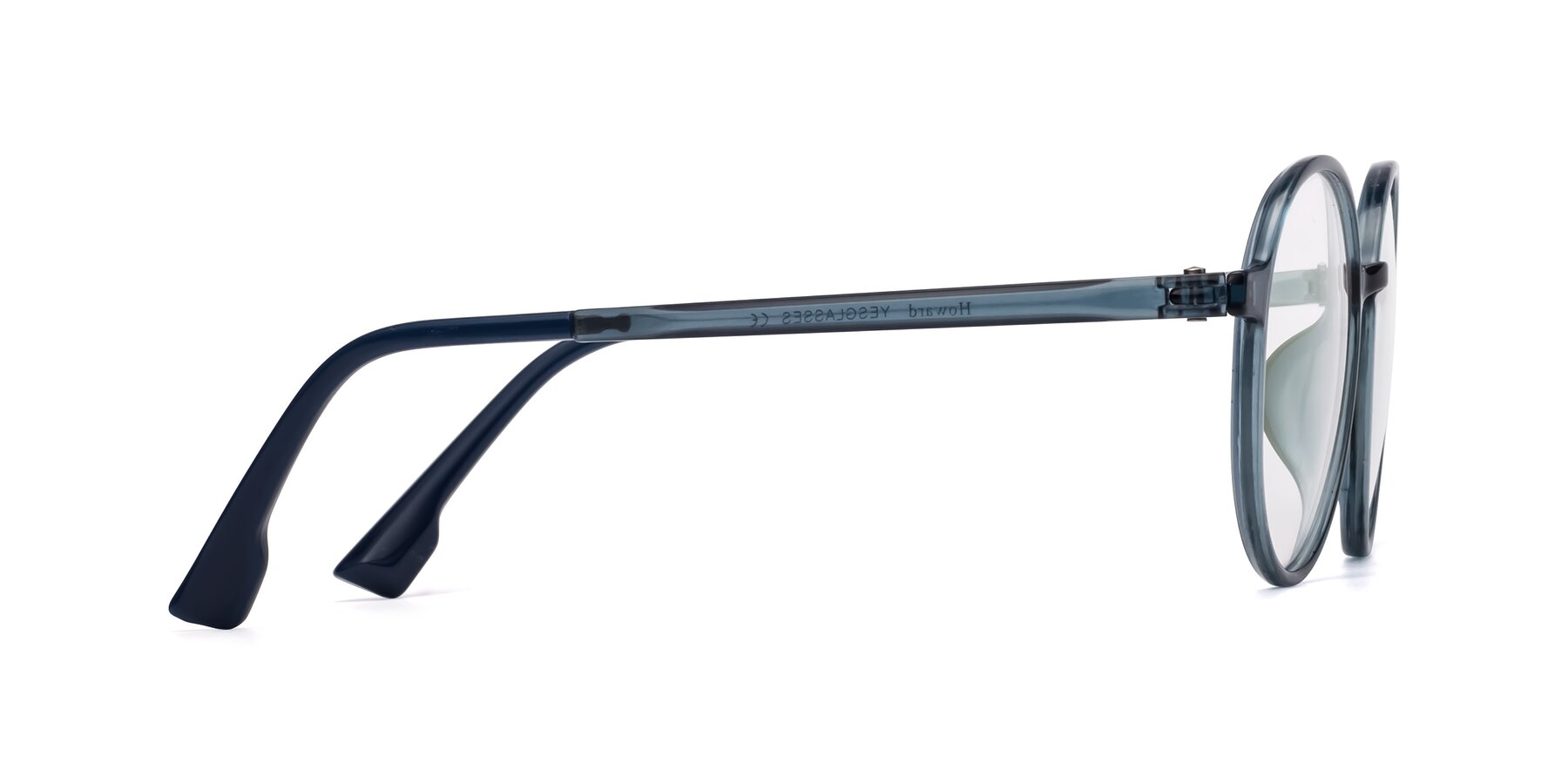 Side of Howard in Deep Sky Blue with Clear Blue Light Blocking Lenses
