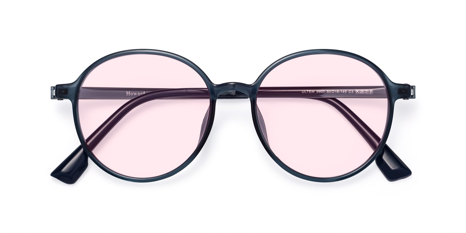 Folded Front of Howard in Deep Sky Blue with Light Pink Tinted Lenses