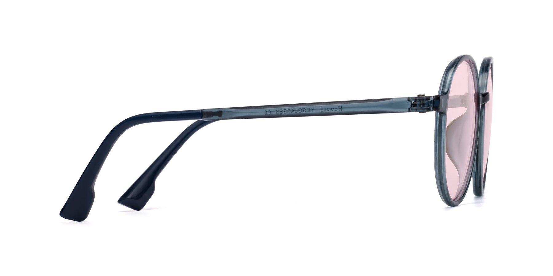 Side of Howard in Deep Sky Blue with Light Pink Tinted Lenses