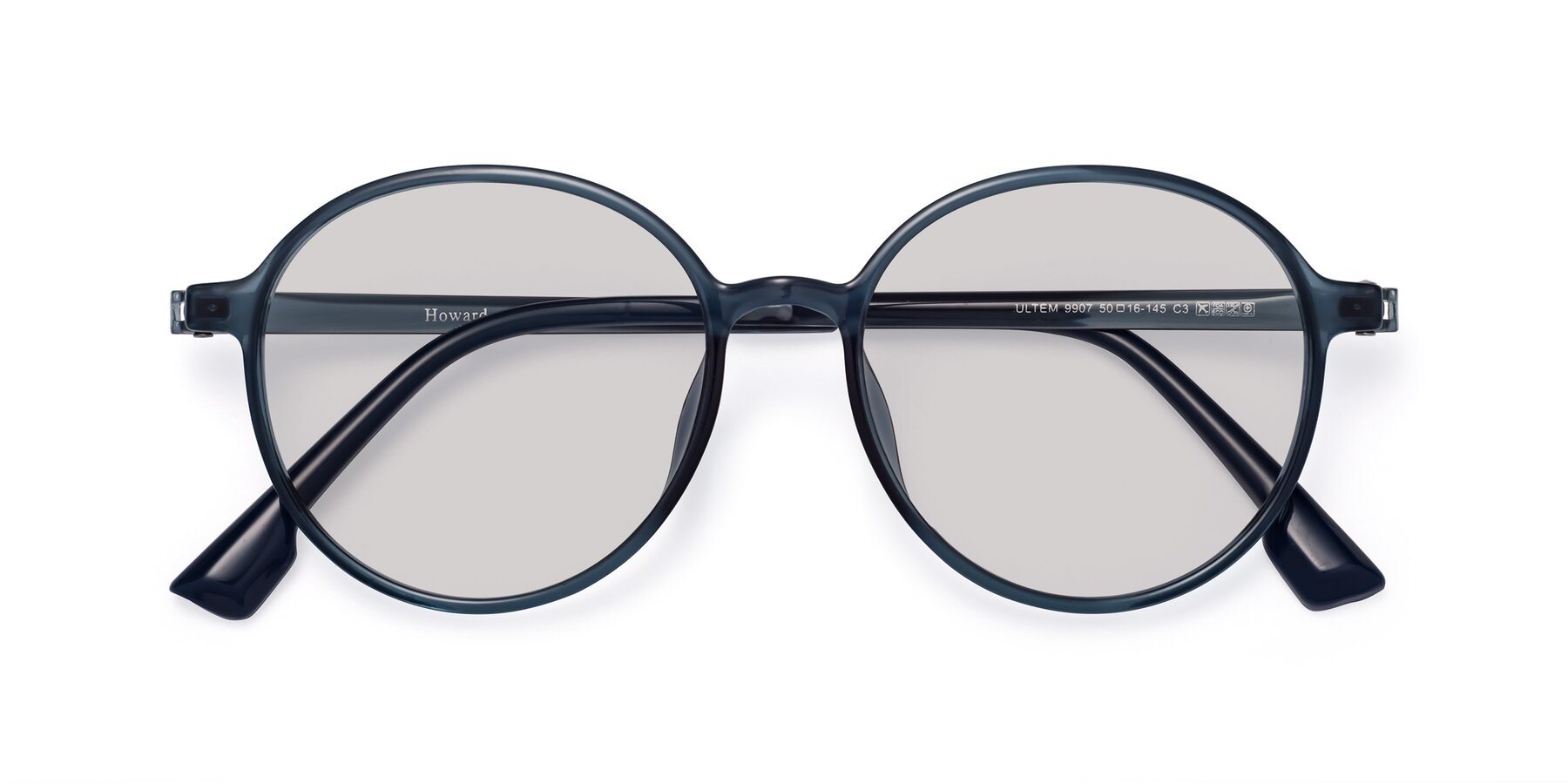 Folded Front of Howard in Deep Sky Blue with Light Gray Tinted Lenses