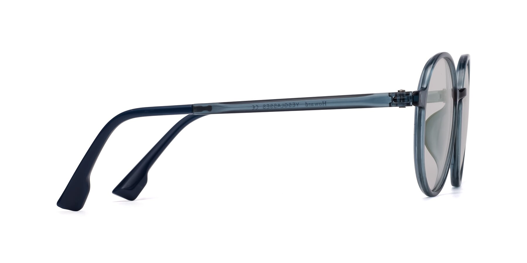Side of Howard in Deep Sky Blue with Light Gray Tinted Lenses