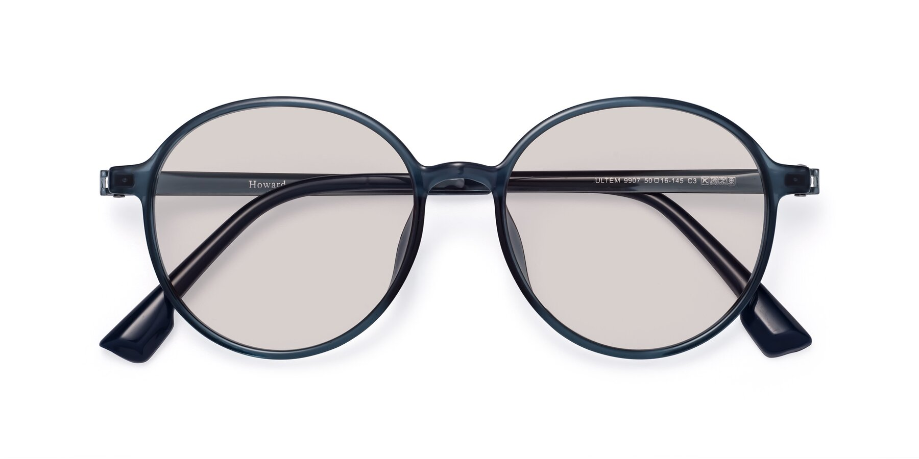 Folded Front of Howard in Deep Sky Blue with Light Brown Tinted Lenses