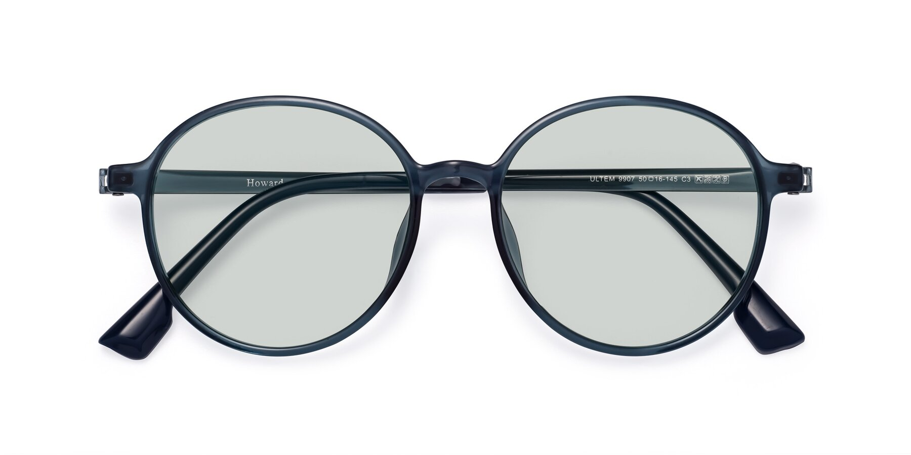 Folded Front of Howard in Deep Sky Blue with Light Green Tinted Lenses