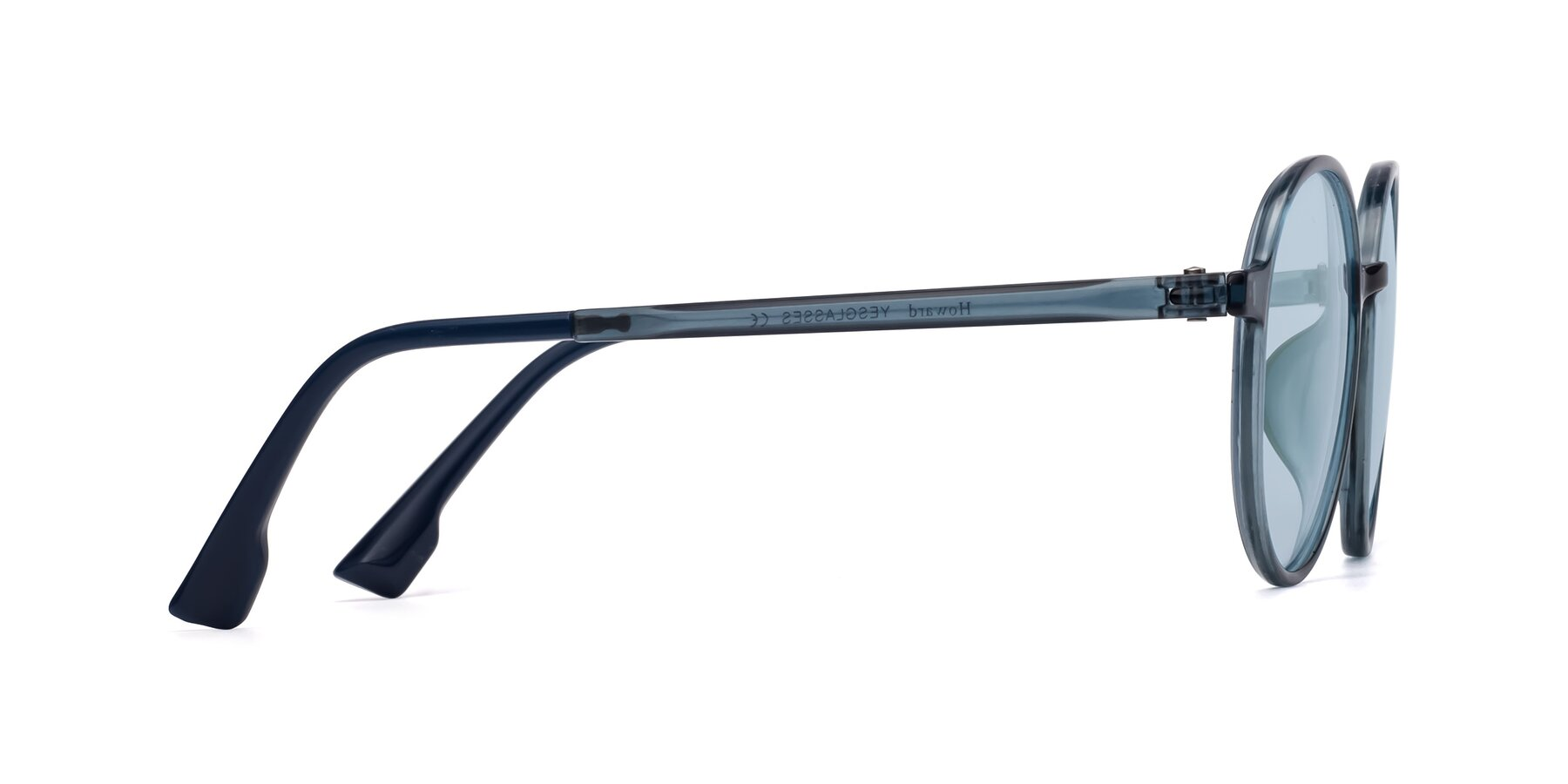 Side of Howard in Deep Sky Blue with Light Blue Tinted Lenses