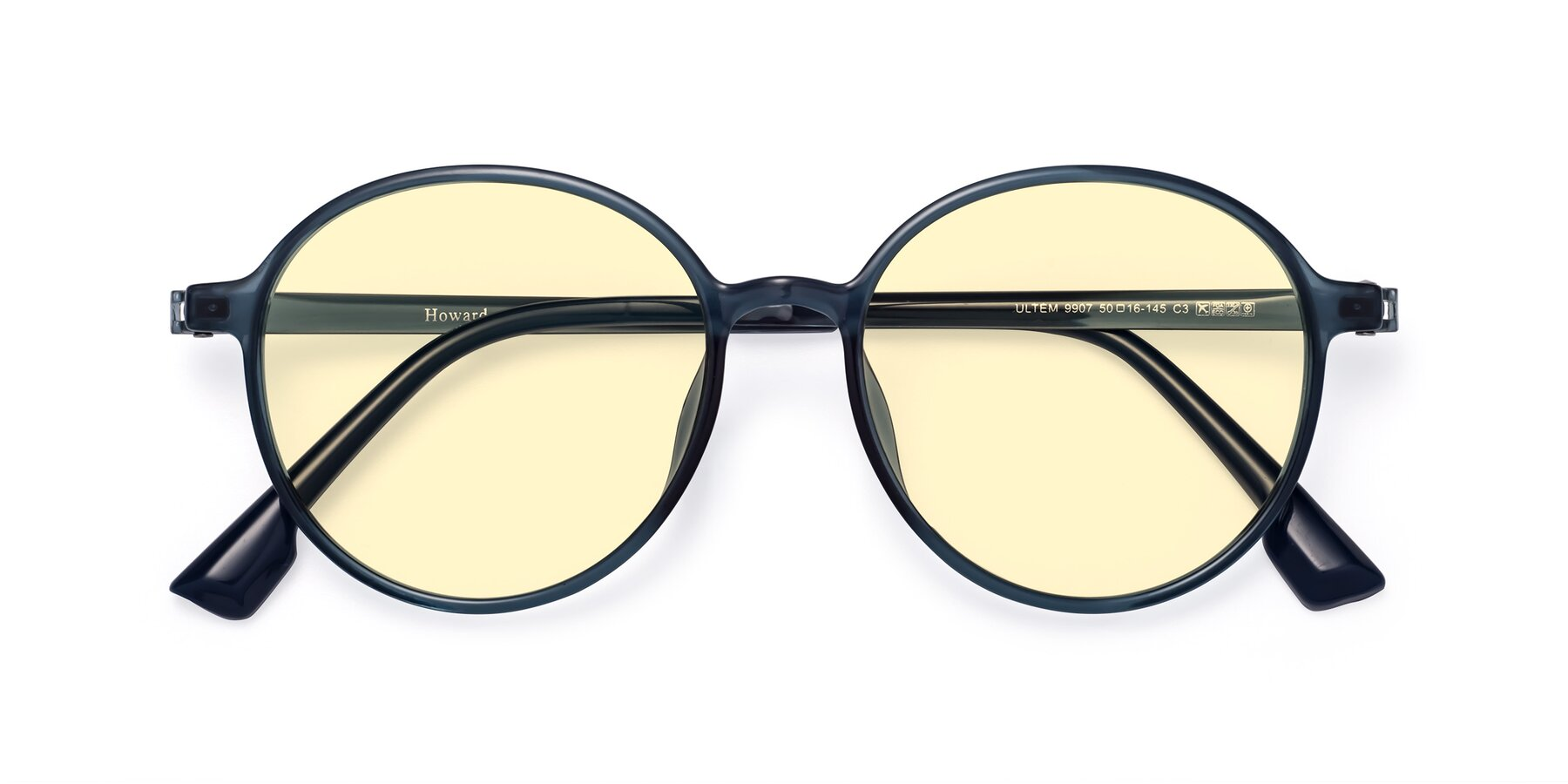 Folded Front of Howard in Deep Sky Blue with Light Yellow Tinted Lenses