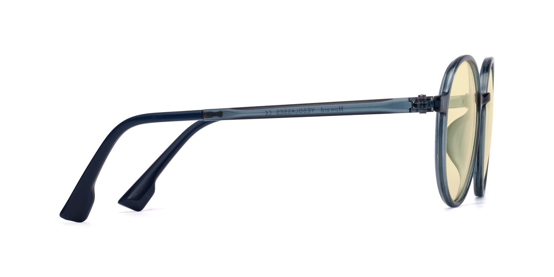 Side of Howard in Deep Sky Blue with Light Yellow Tinted Lenses