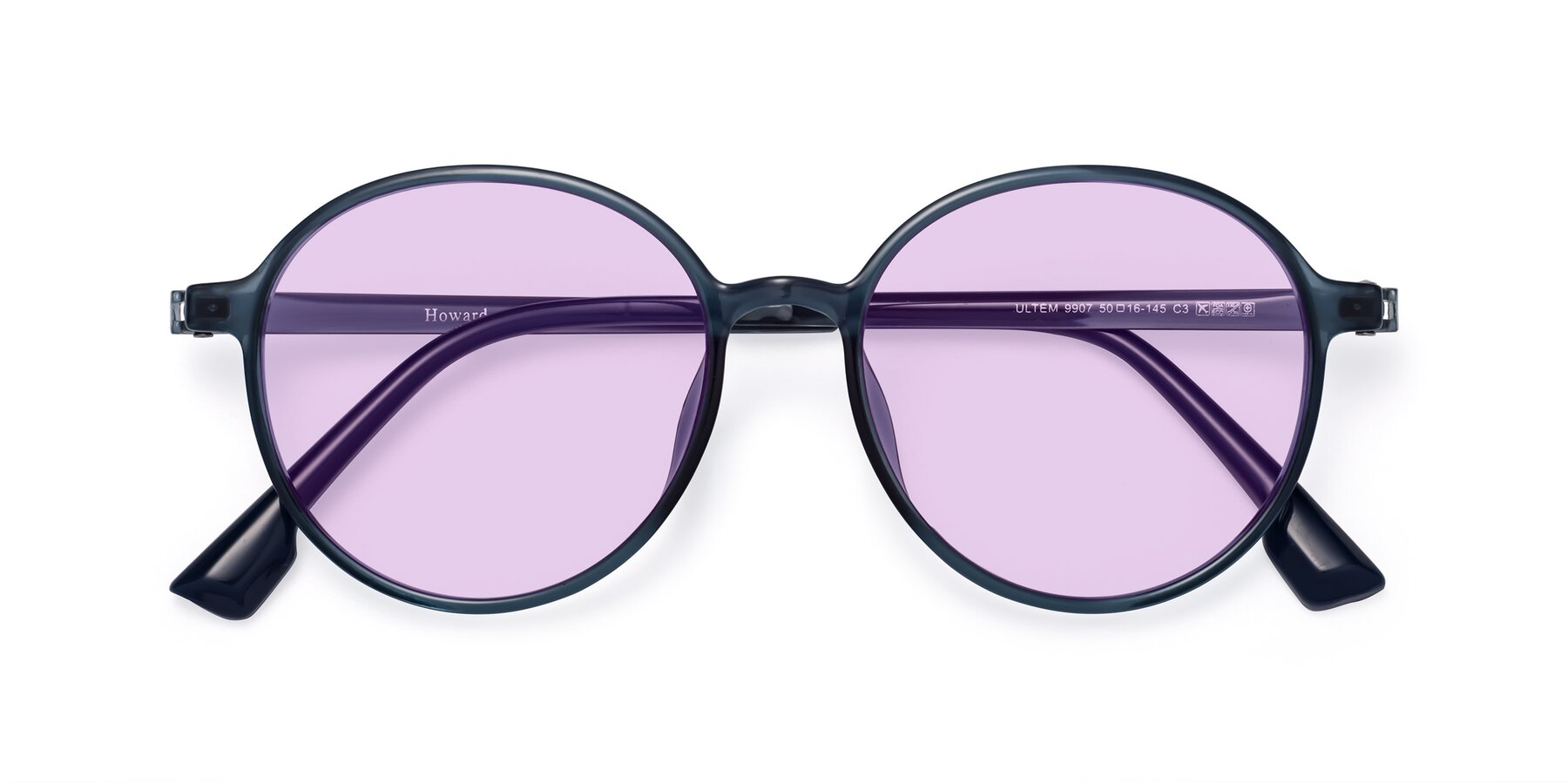Folded Front of Howard in Deep Sky Blue with Light Purple Tinted Lenses