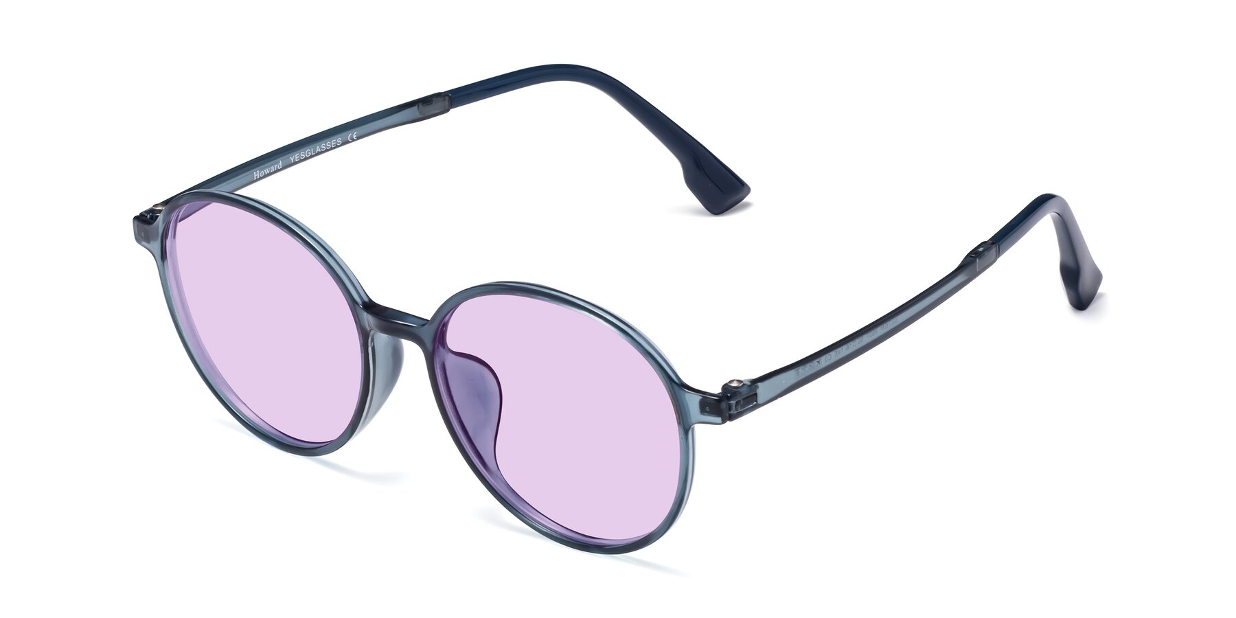 Angle of Howard in Deep Sky Blue with Light Purple Tinted Lenses