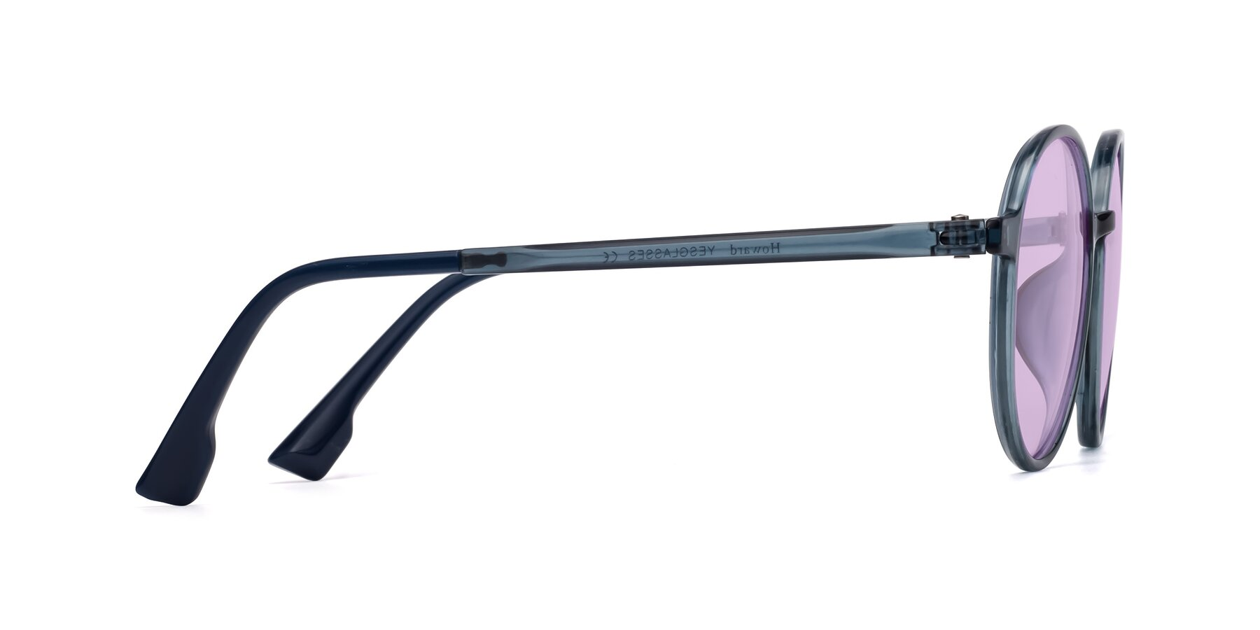 Side of Howard in Deep Sky Blue with Light Purple Tinted Lenses