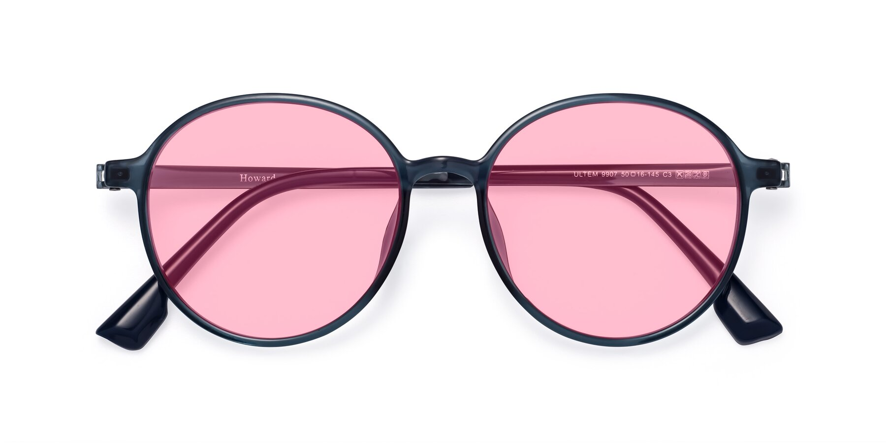 Folded Front of Howard in Deep Sky Blue with Medium Pink Tinted Lenses