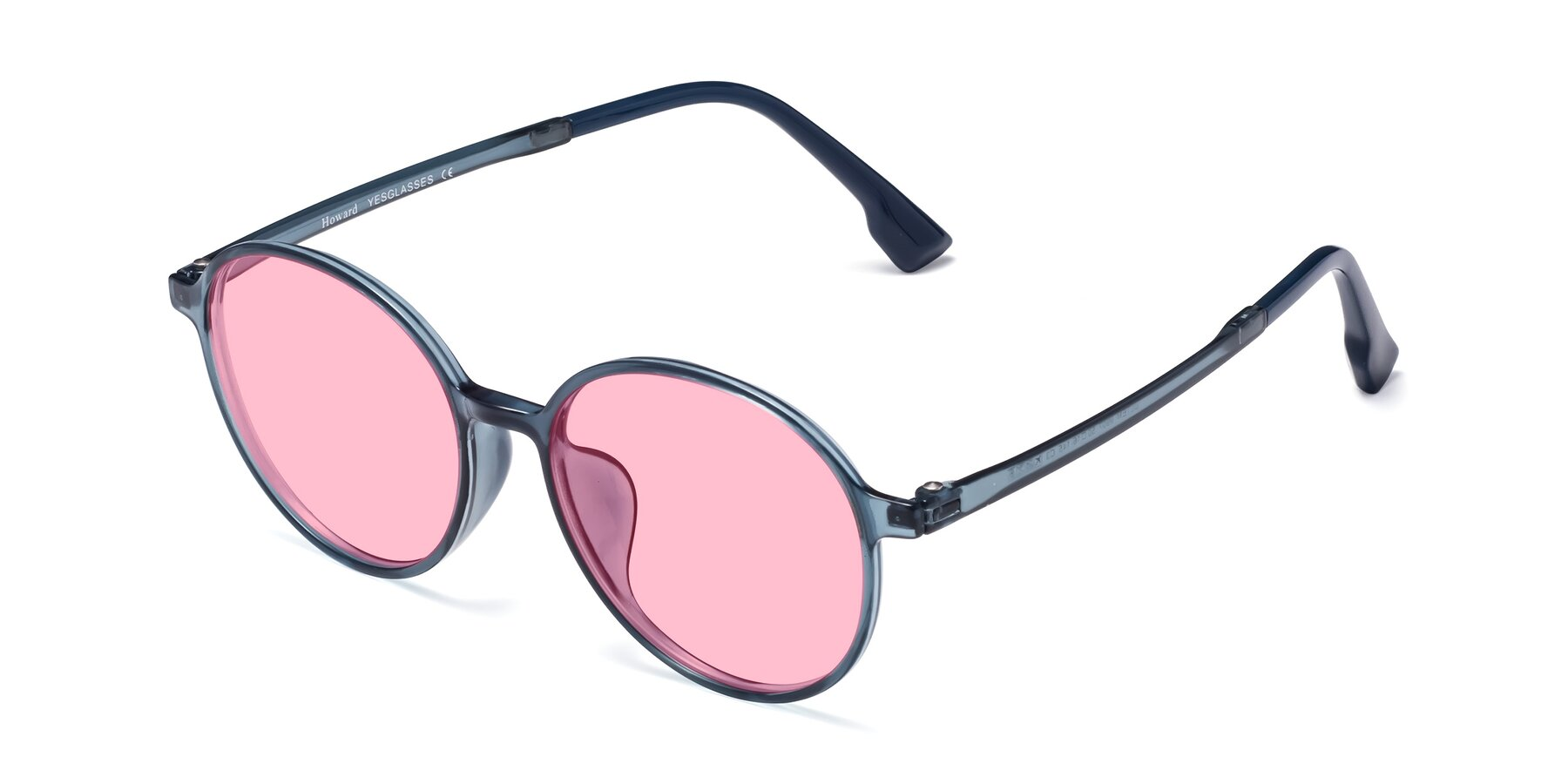 Angle of Howard in Deep Sky Blue with Medium Pink Tinted Lenses