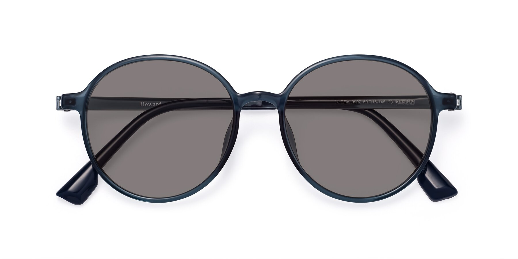 Folded Front of Howard in Deep Sky Blue with Medium Gray Tinted Lenses