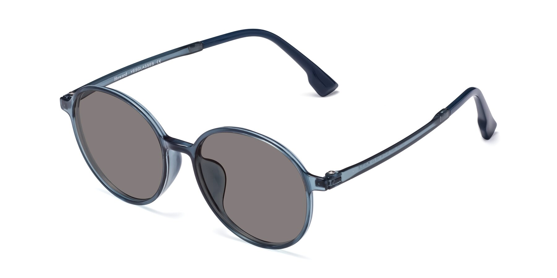 Angle of Howard in Deep Sky Blue with Medium Gray Tinted Lenses